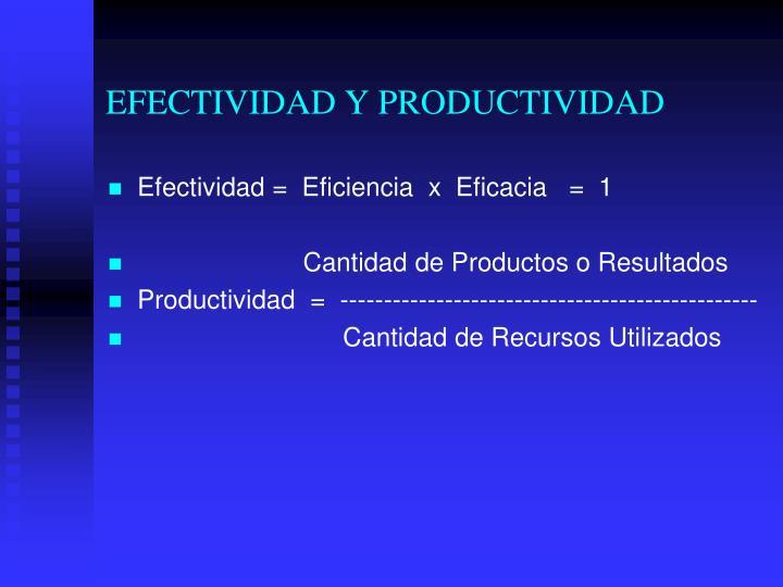 EFECTIVIDAD Y PRODUCTIVIDAD