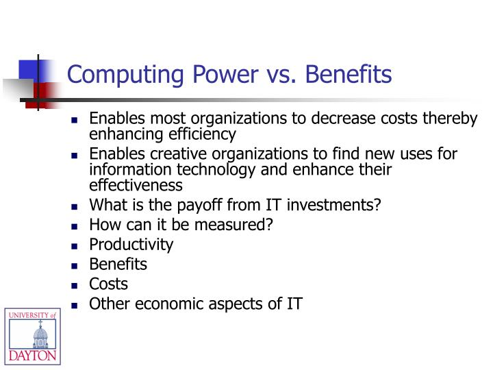 Computing Power vs. Benefits