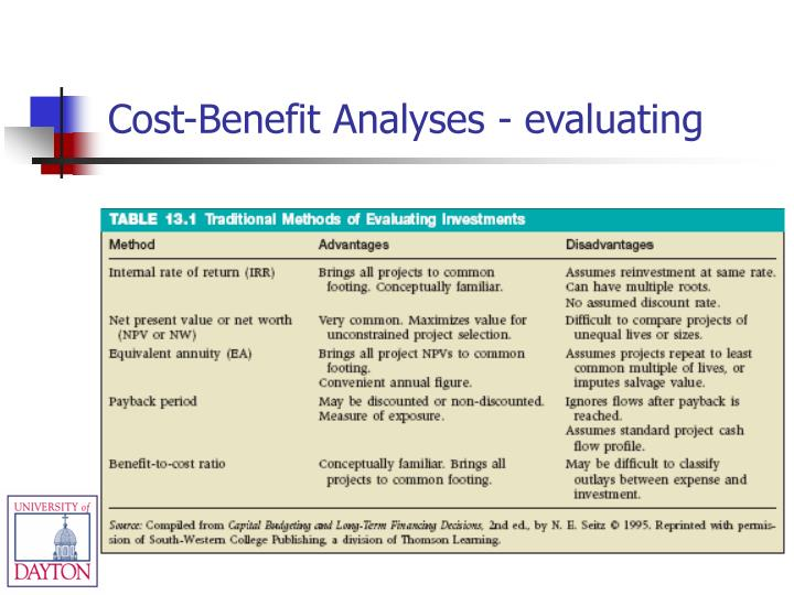 Cost-Benefit Analyses - evaluating