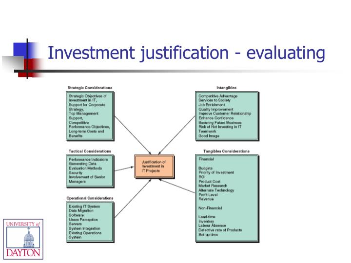 Investment justification - evaluating