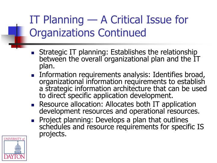 IT Planning — A Critical Issue for Organizations