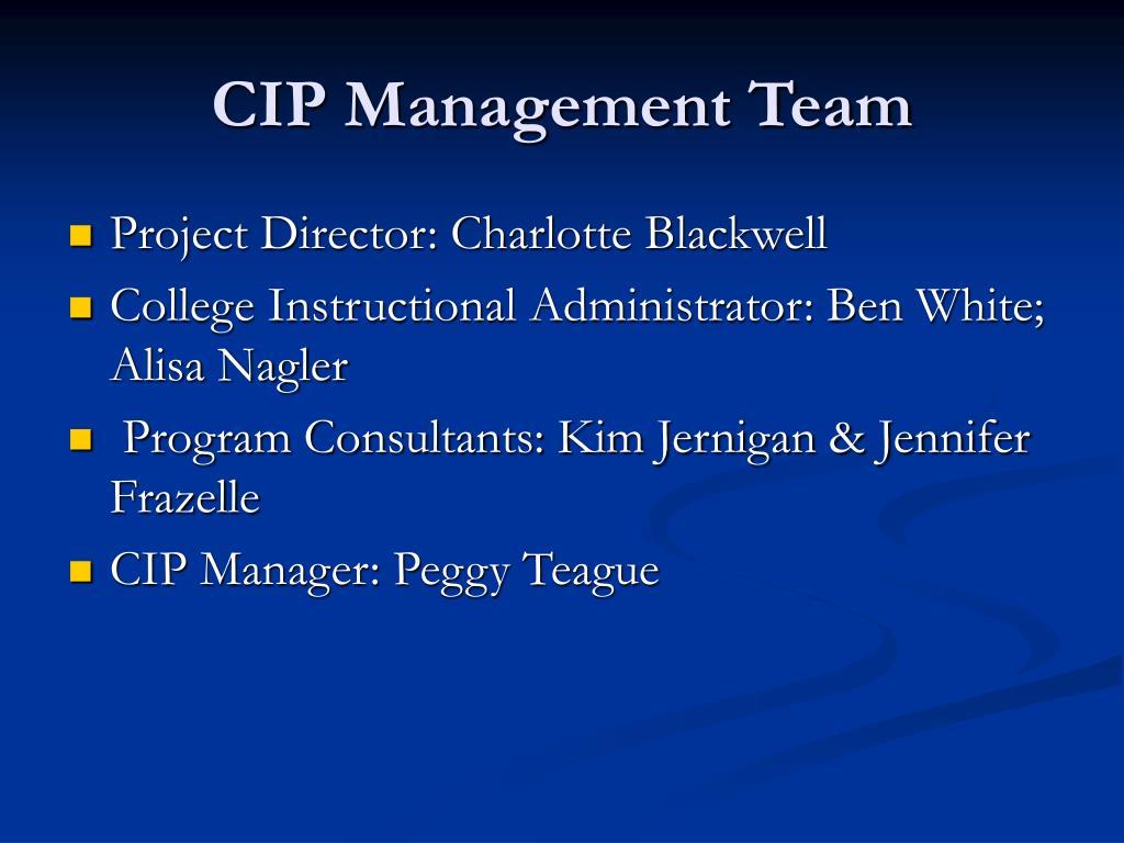 CIP Management Team