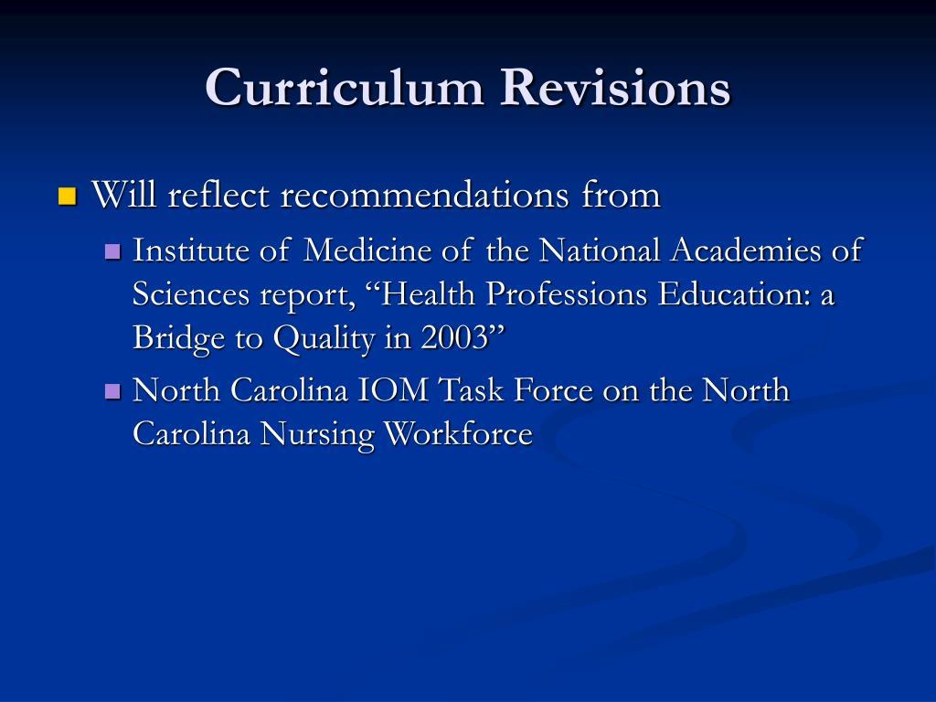 Curriculum Revisions