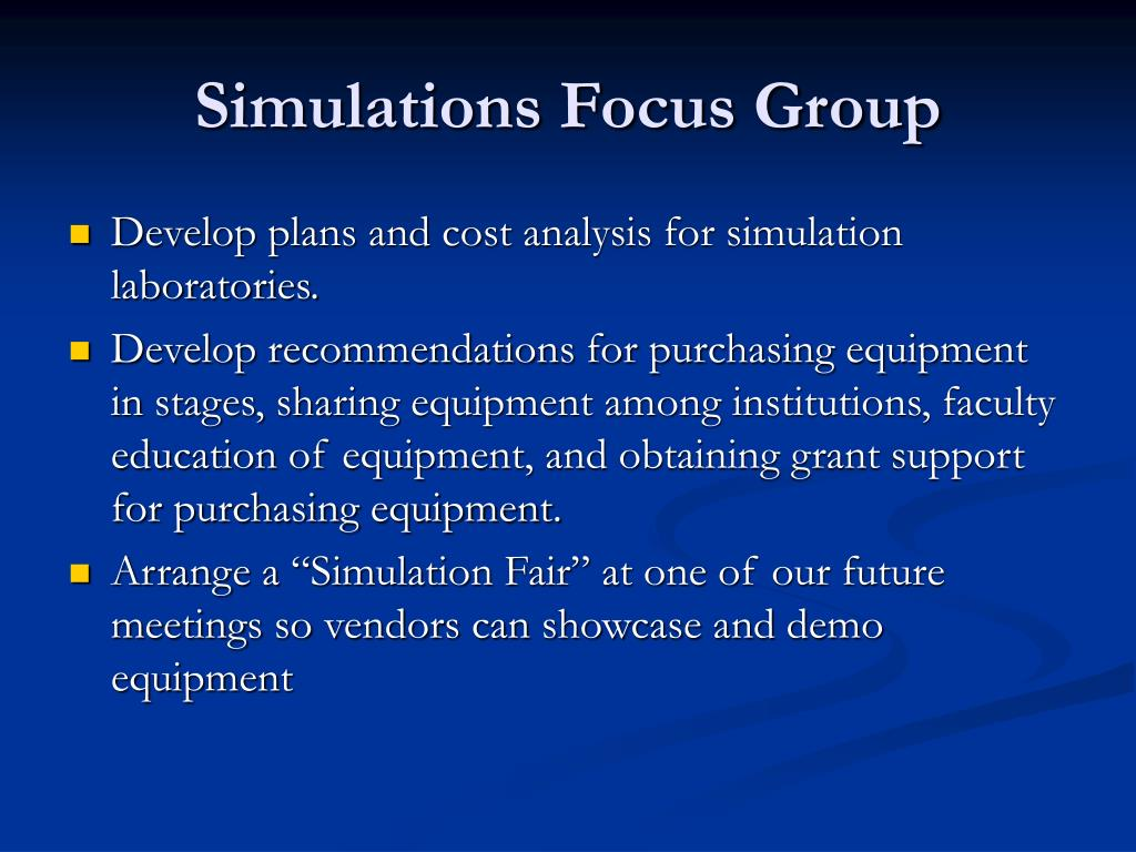 Simulations Focus Group