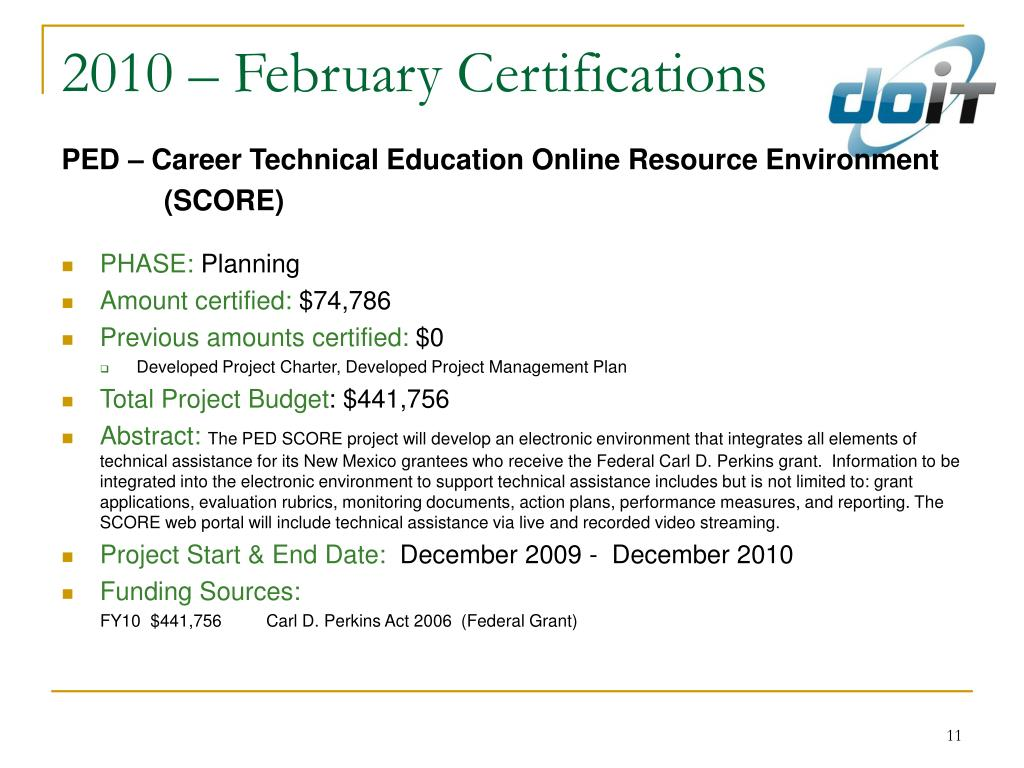 2010 – February Certifications