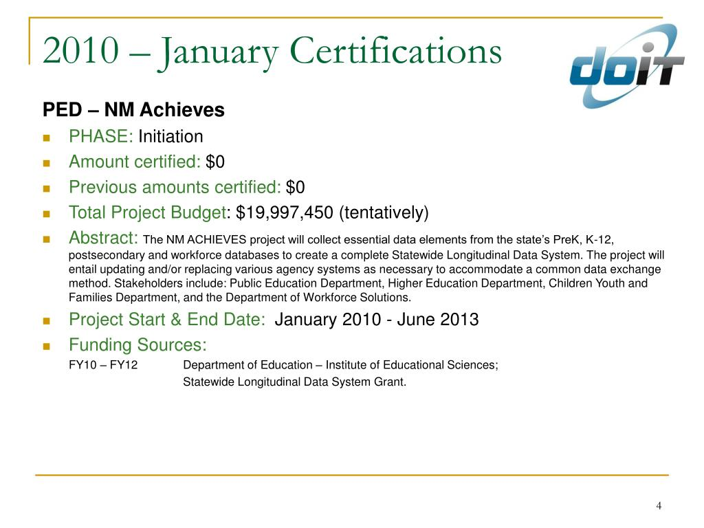 2010 – January Certifications