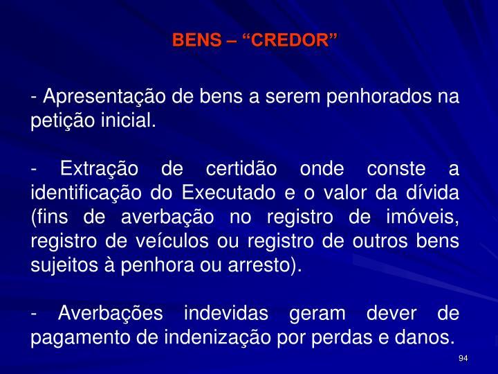"""BENS – """"CREDOR"""""""