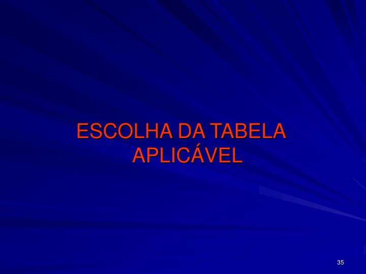 ESCOLHA DA TABELA APLICÁVEL