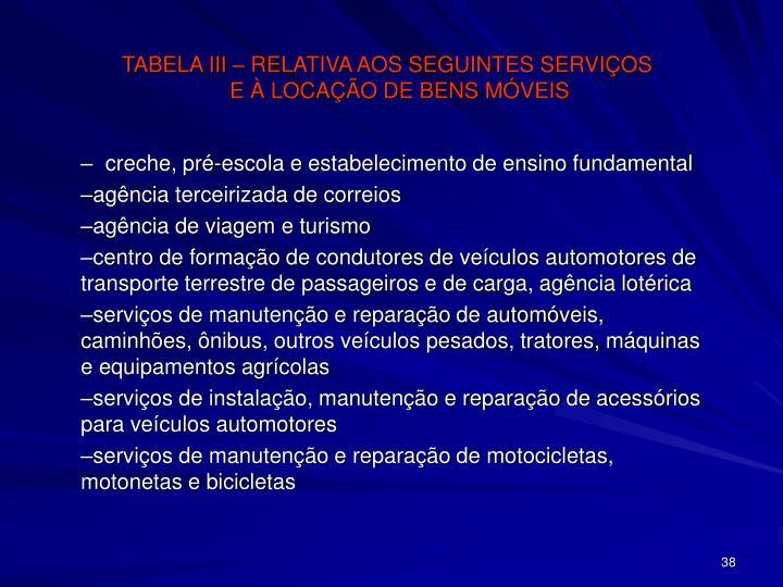 TABELA III – RELATIVA AOS SEGUINTES SERVIÇOS