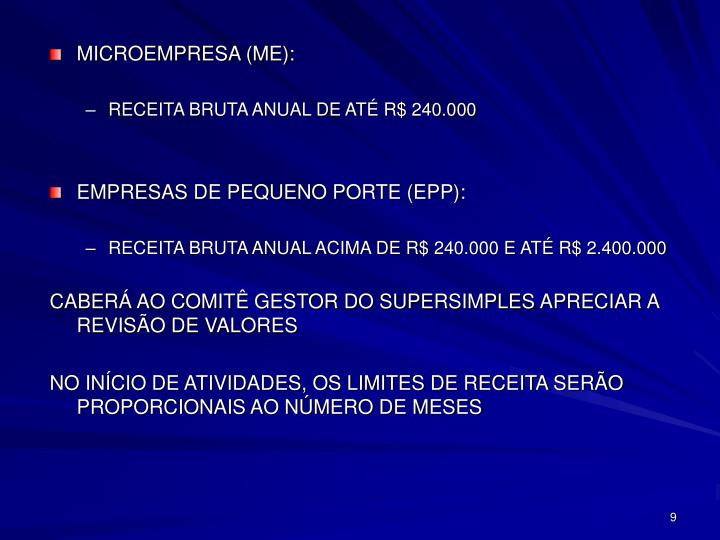 MICROEMPRESA (ME):