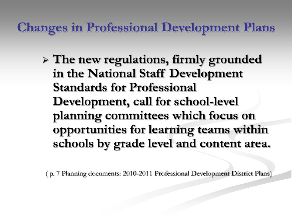 Changes in Professional Development Plans