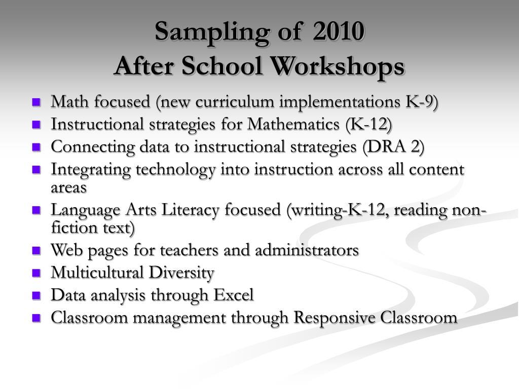 Sampling of 2010