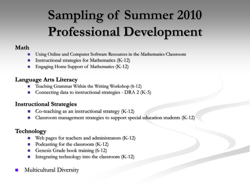 Sampling of Summer 2010