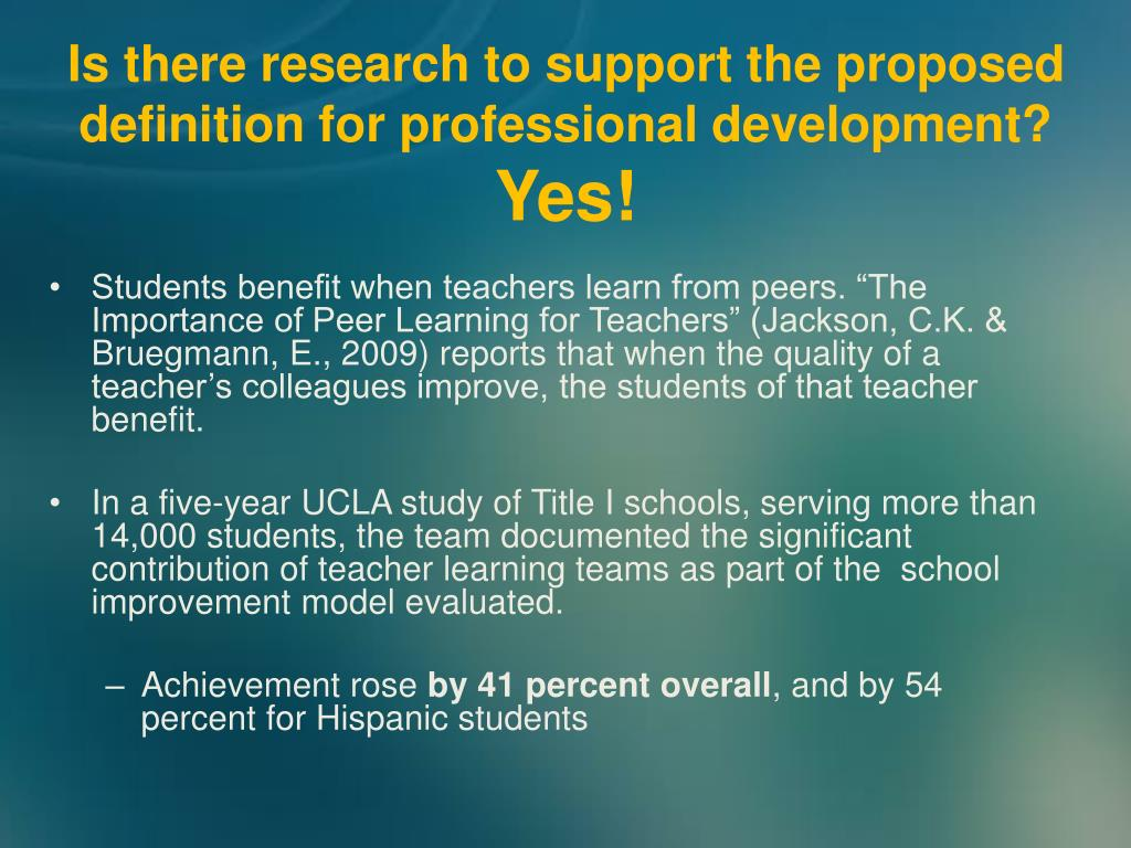 Is there research to support the proposed definition for professional development?