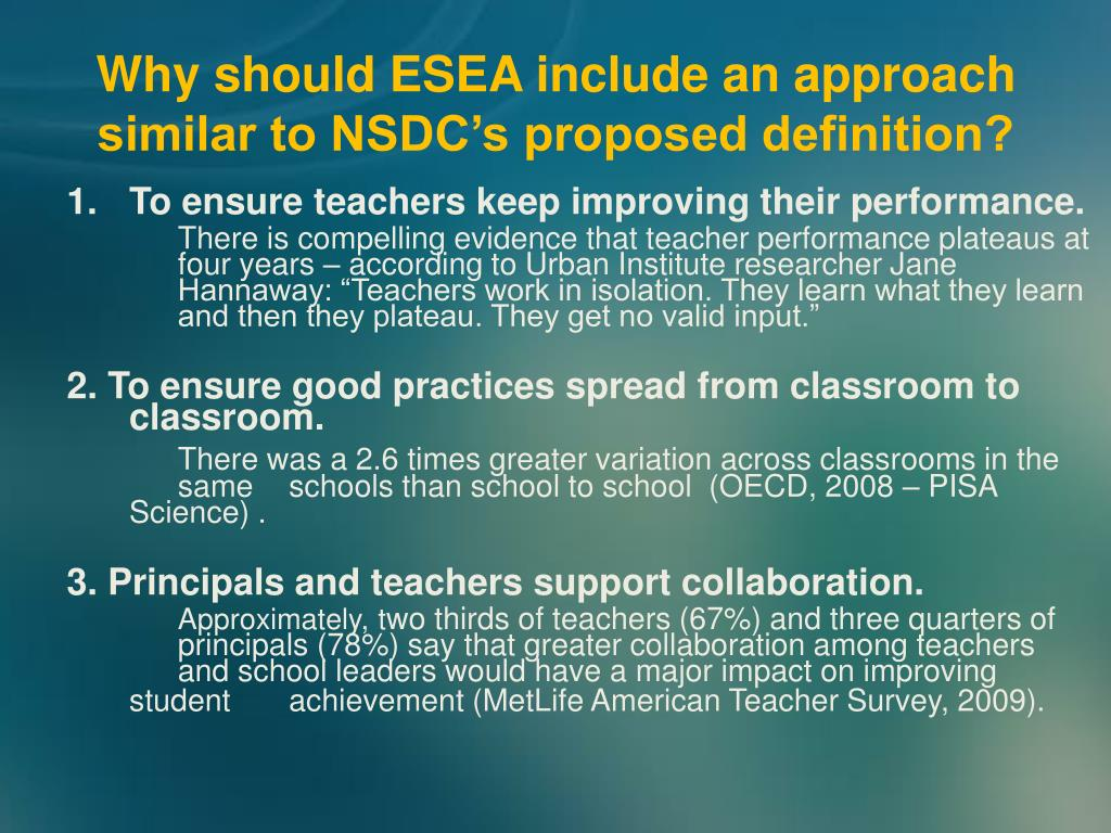 Why should ESEA include an approach similar to NSDC's proposed definition?