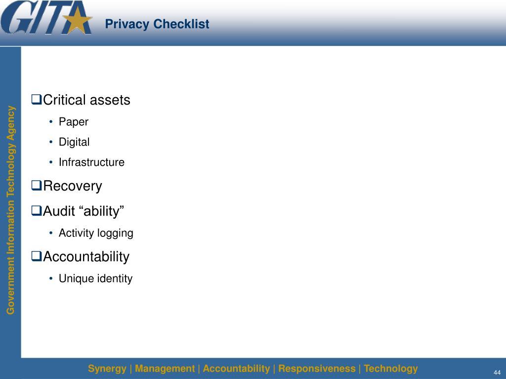 Privacy Checklist
