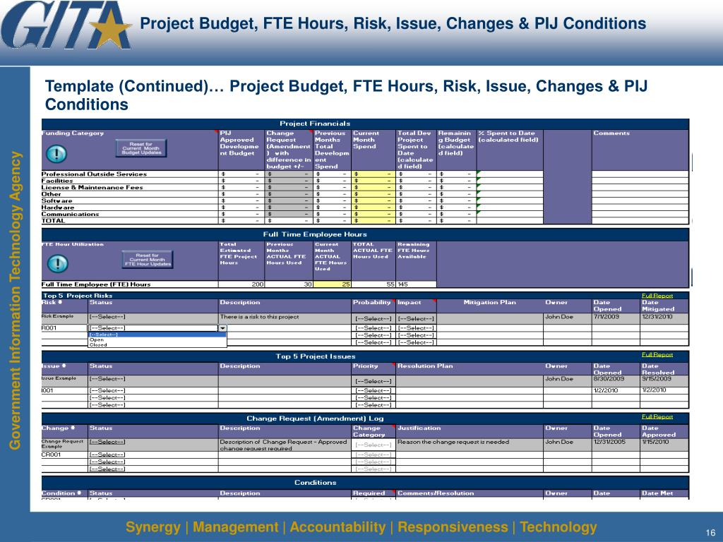 Project Budget, FTE Hours, Risk, Issue, Changes & PIJ Conditions
