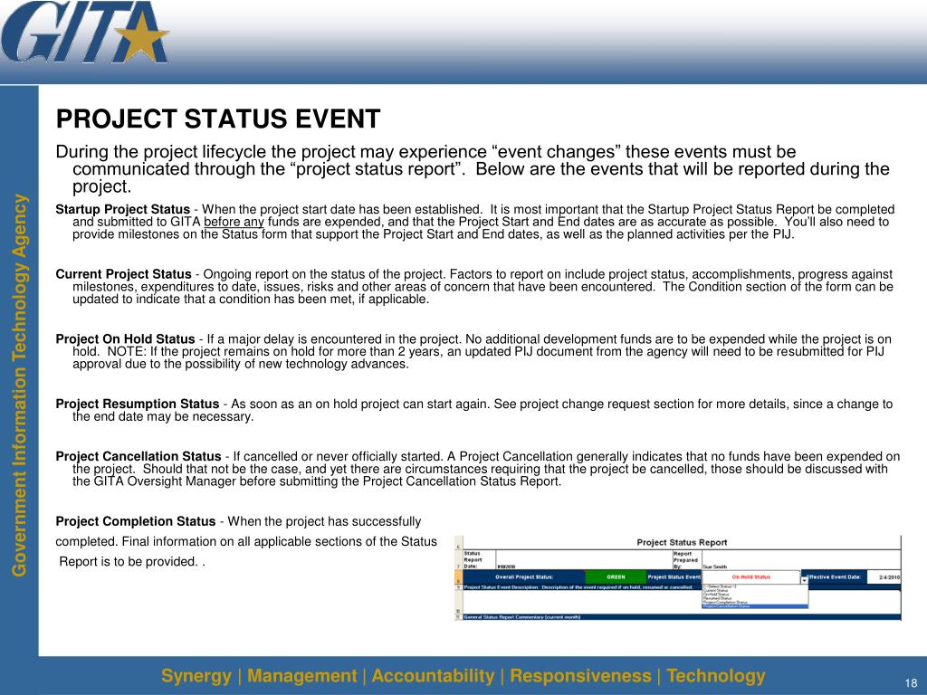 PROJECT STATUS EVENT