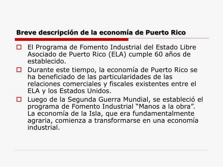 Breve descripción de la economía de Puerto Rico