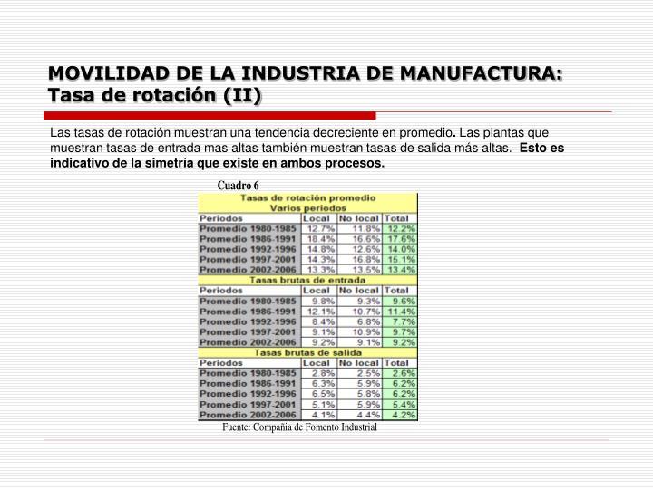 MOVILIDAD DE LA INDUSTRIA DE MANUFACTURA: Tasa de rotación (II)