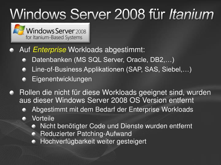 Windows Server 2008 für