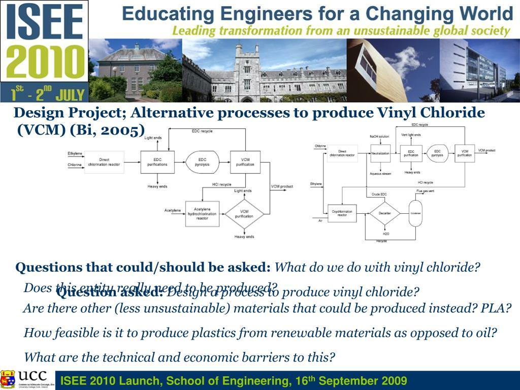 Design Project; Alternative processes to produce Vinyl Chloride