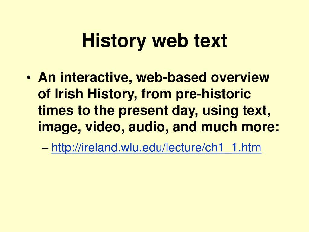 History web text