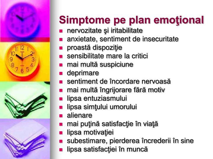 Simptome pe plan emoţional