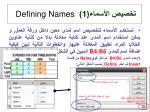 1 defining names