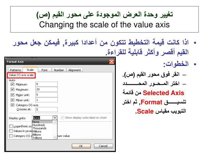 تغيير وحدة العرض الموجودة على محور القيم (ص)