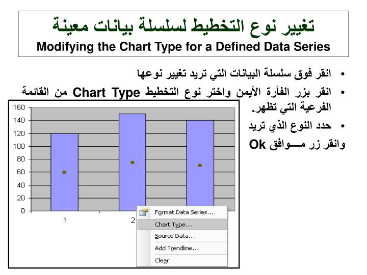 تغيير نوع التخطيط لسلسلة بيانات معينة