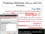 protecting a worksheet elements