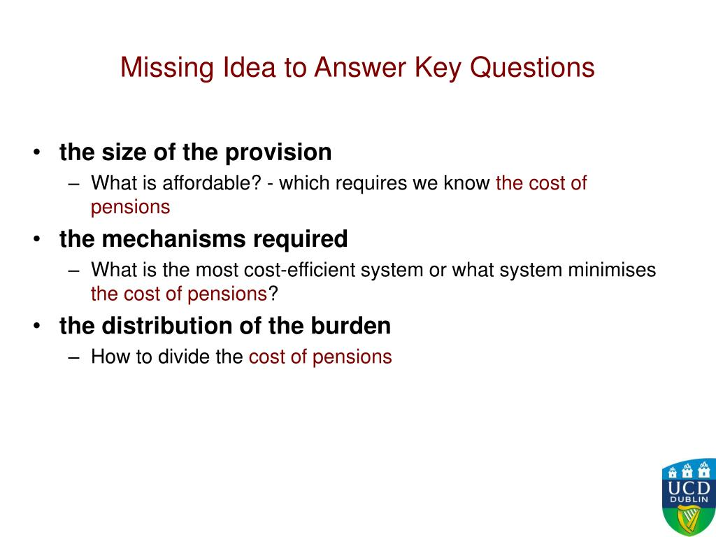 Missing Idea to Answer Key Questions
