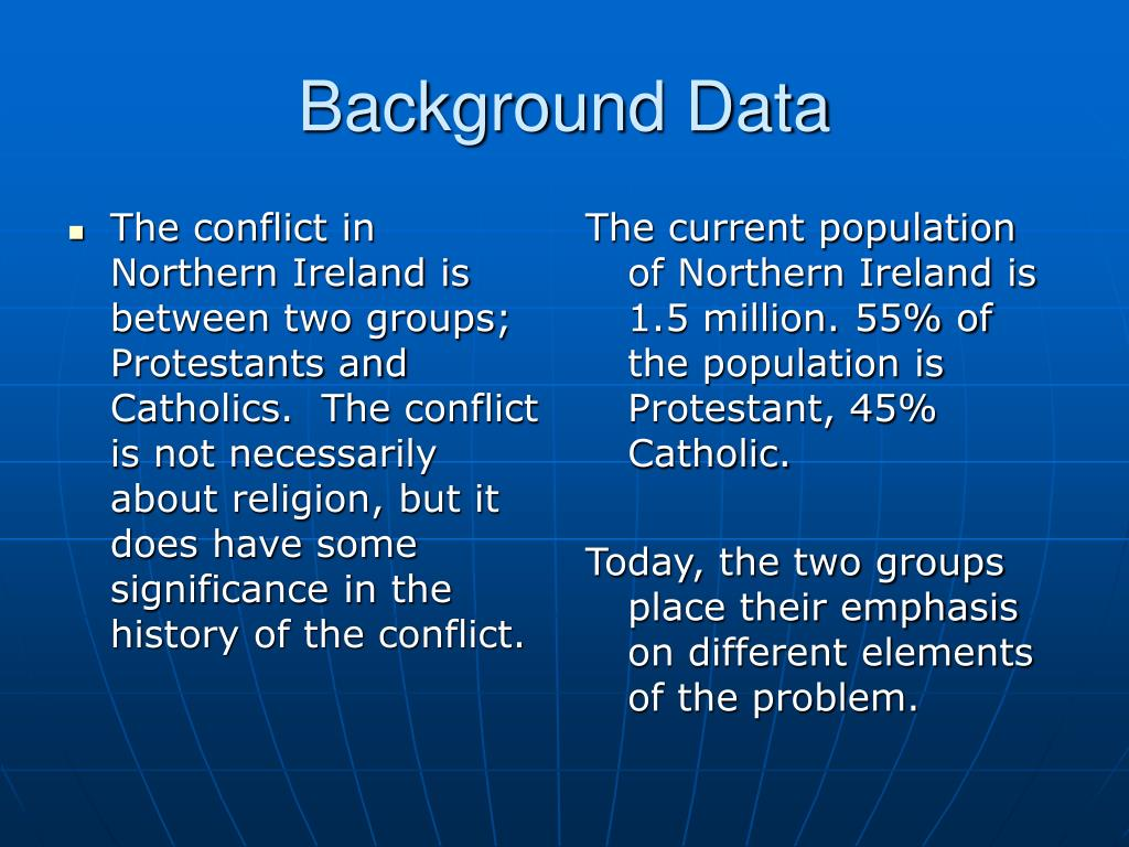The conflict in Northern Ireland is between two groups; Protestants and Catholics.  The conflict is not necessarily about religion, but it does have some significance in the history of the conflict.