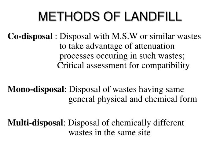 METHODS OF LANDFILL