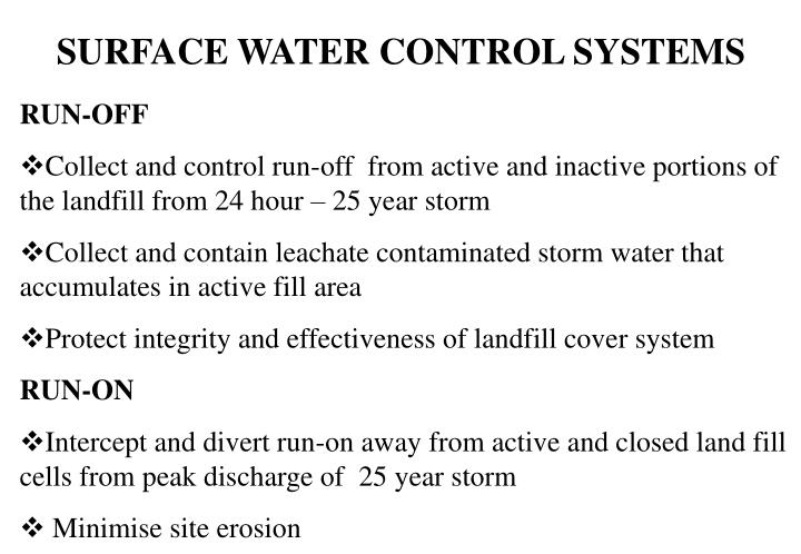 SURFACE WATER CONTROL SYSTEMS