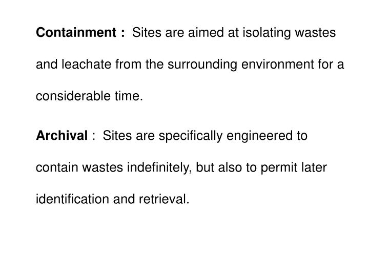 Containment :