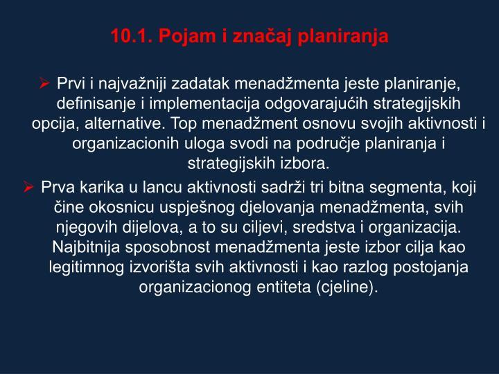 10.1. Pojam i znaaj planiranja