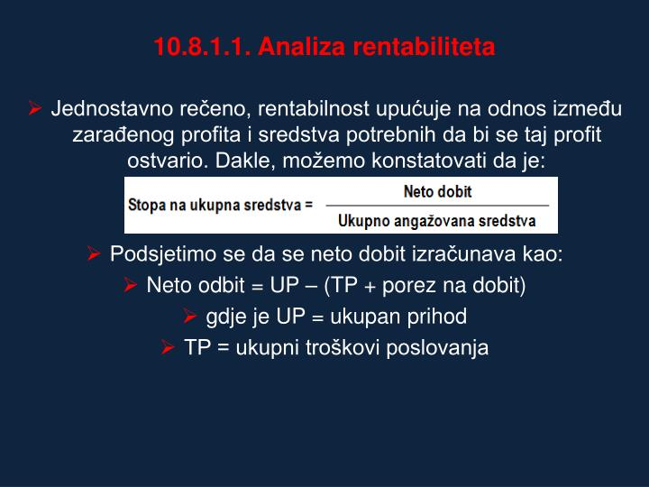 10.8.1.1. Analiza rentabiliteta