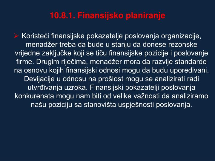 10.8.1. Finansijsko planiranje