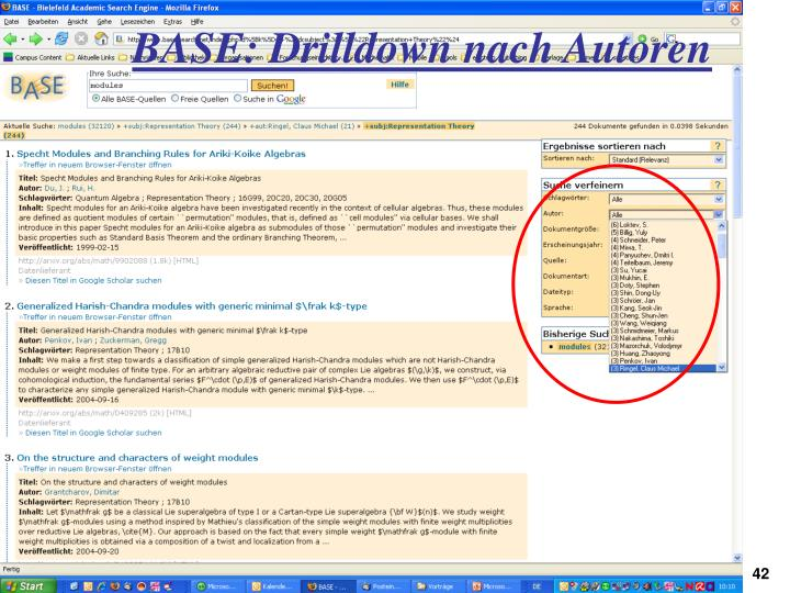 BASE: Drilldown nach Autoren