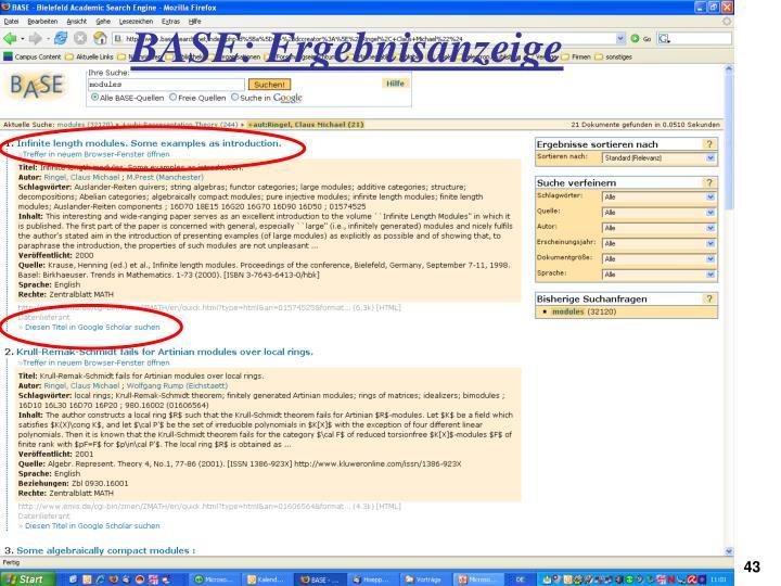 BASE: Ergebnisanzeige