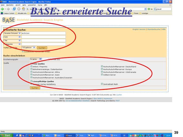 BASE: erweiterte Suche