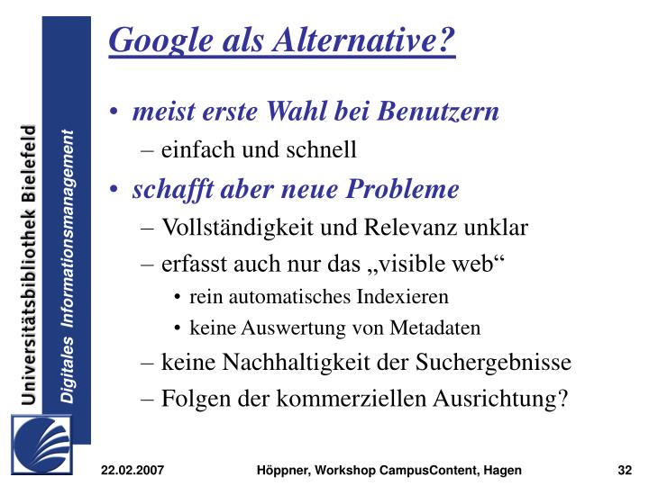 Google als Alternative?