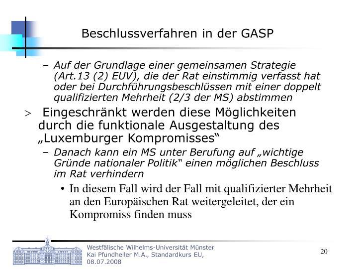 Beschlussverfahren in der GASP
