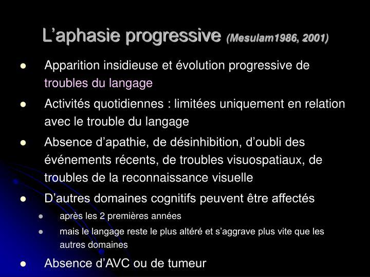 L'aphasie progressive
