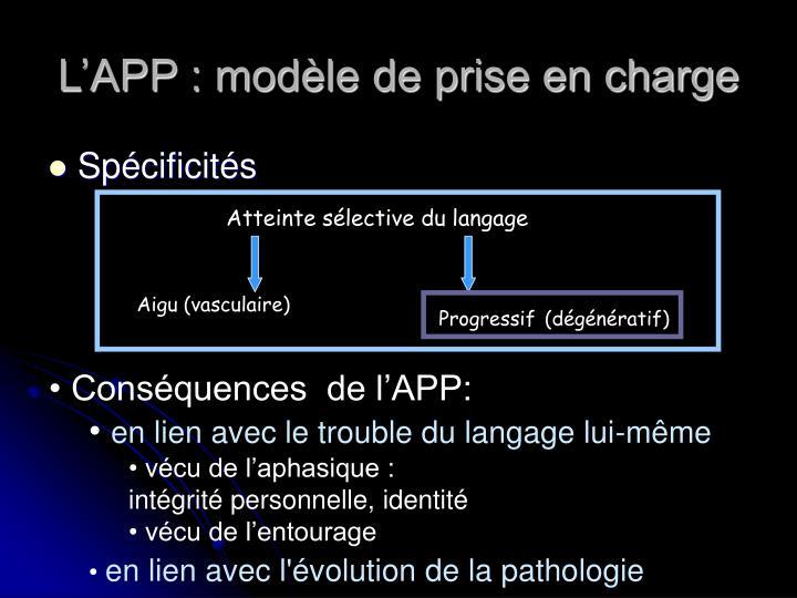 L'APP : modèle de prise en charge