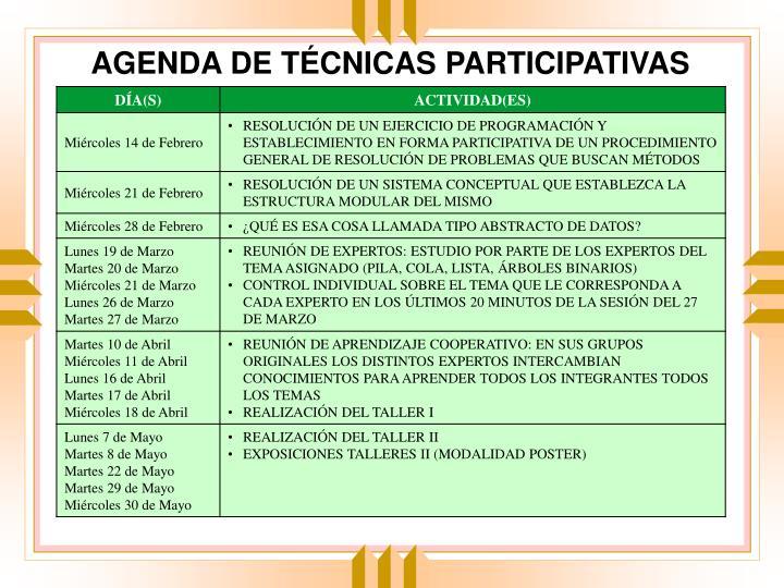 AGENDA DE TÉCNICAS PARTICIPATIVAS