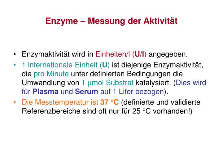 Enzyme – Messung der Aktivität