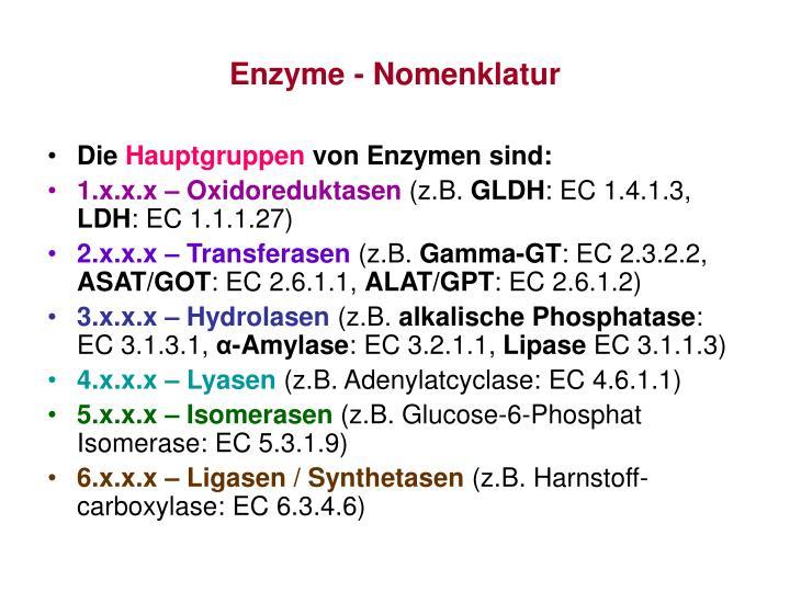 Enzyme - Nomenklatur